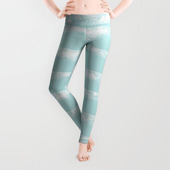 Irregular Stripes Mint Leggings