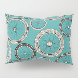 bike wheels turquoise Pillow Sham