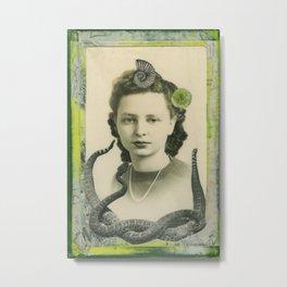 girl with snake Metal Print