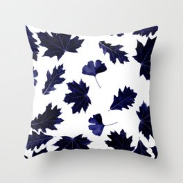 Indigo Blue Sun-Dyed Leaves Throw Pillow