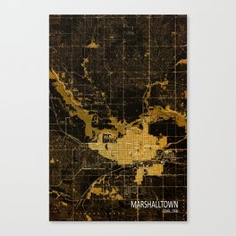 Marshalltown old map, year 1960, us map, usa maps Canvas Print