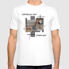Coffee all day MEDIUM White Mens Fitted Tee