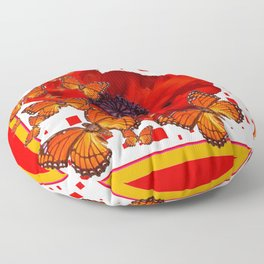 Decorative Red-Gold Monarch Butterflies Red Popppy Floor Pillow