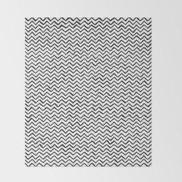 Black & White Hand Drawn ZigZag Pattern Throw Blanket