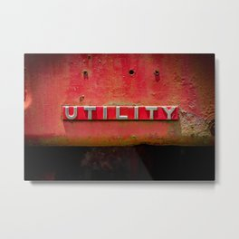 Utility Red Tractor Badge  Metal Print