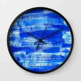 Cool & Calming Cobalt Blue Paint on White  Wall Clock