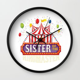 Sister Of The Birthday Ringmaster Kids Circus Party B-day print Wall Clock