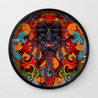 sacred geometry Wall Clocks featuring Sacred Geometry by Robin Curtiss