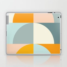 Summer Evening Geometric Shapes in Soft Blue and Orange Laptop & iPad Skin