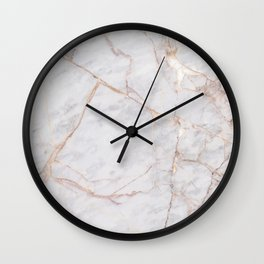 White Italian Marble & Gold Wall Clock