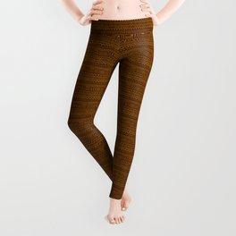 Mud Cloth on Brown Leggings