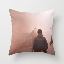 Red Smoke Streets Throw Pillow