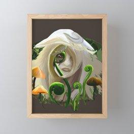 Mushroom Fairy with Plants Framed Mini Art Print