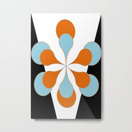 Mid-Century Modern Art 1.4 Aqua Orange Flower Metal Print
