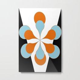 Mid-Century Modern Art 1.4 Aqua Orange Flower Metal Print