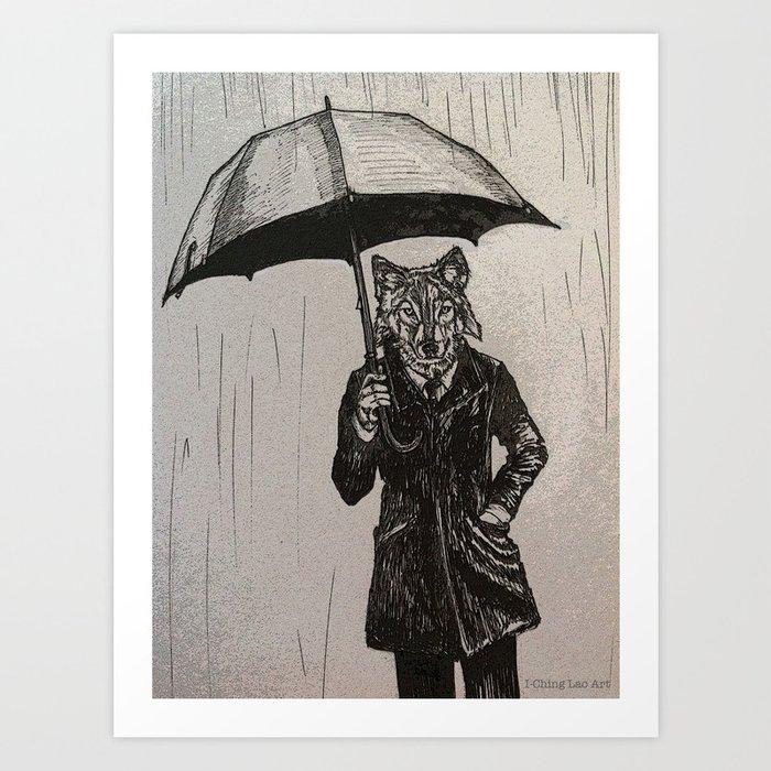Wolf with Umbrella Art Print