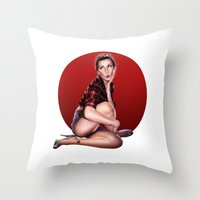 calendar Throw Pillows featuring CALENDAR GIRL by Kiko Alcazar