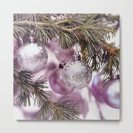 Pink Christmas shimmering baubles twig Metal Print