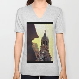 Watercolor painting of the Cathedral on the Plaza de Armas in Arequipa, Peru. Unisex V-Neck