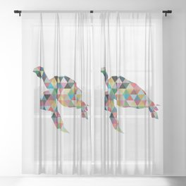 Colorful Geometric Turtle Sheer Curtain