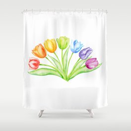 Rainbow Tulips, Spring Flowers Shower Curtain