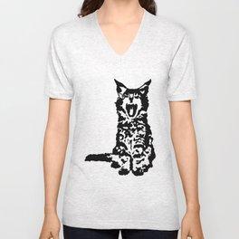 Screaming Kitten (Black & White) Unisex V-Neck