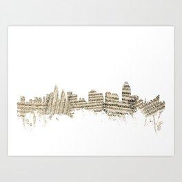 Cincinnati Ohio Skyline Sheet Music Cityscape Art Print