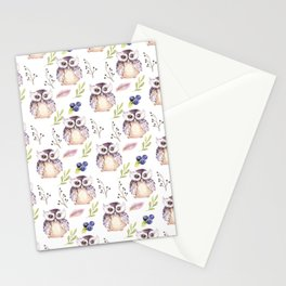 Watercolor Owl Pattern Stationery Cards