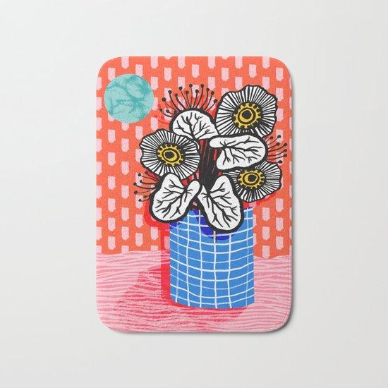 Proper - abstract minimal still life flower vase grid painted dots pattern wacka design Bath Mat