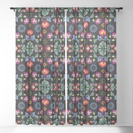 Fiesta Folk Black #society6 #folk Sheer Curtain