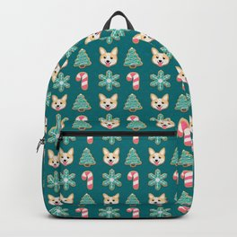 Holiday Cookies - Corgi, Christmas Tree, Snowflake and Candy Cane, Sweet and Cute Festive Pattern in Teal Green, Pink and Beige Backpack