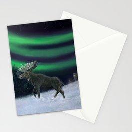 Northern Lights Moose Hunt Stationery Cards