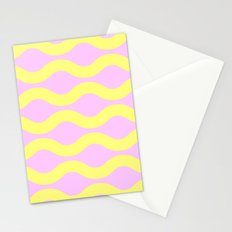 Wavey Lines Yellow & Pink Stationery Cards
