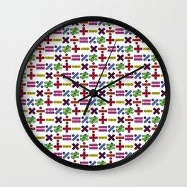 Seamless Colorful Abstract Mathematical Symbols Pattern VI Wall Clock