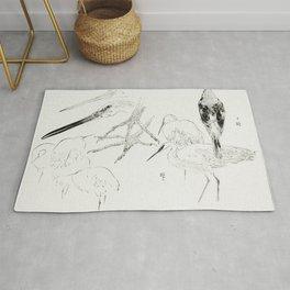 Little egret and Daurian redstart Illustration from Bijutsu Sekai (1893-1896) by Watanabe Seitei a p Rug