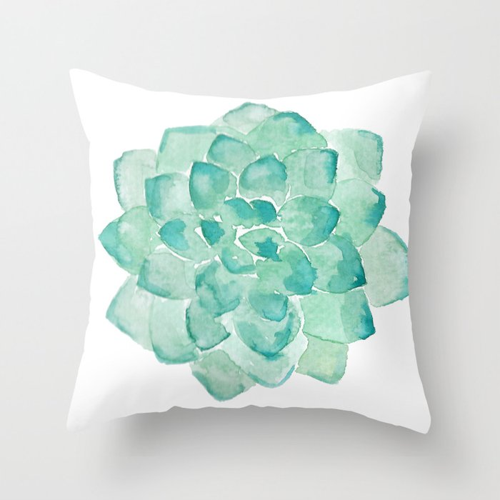 Watercolor Succulent Print In Seafoam Green Throw Pillow