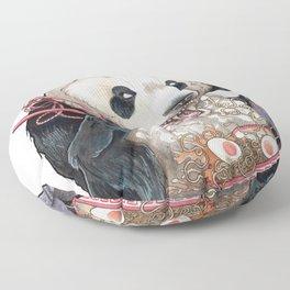 Panda Eating Ramen In A Tin Foil hat Floor Pillow