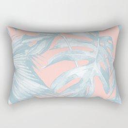 Island Love Pale Teal Blue on Millennial Pink Rectangular Pillow