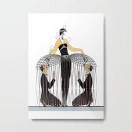 "Art Deco Design ""Improvised Cage"" by Erté Metal Print"