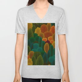 Stylized Autumn color trees pattern Unisex V-Neck