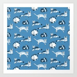 Cats, cats, cats pattern in blue palette Art Print