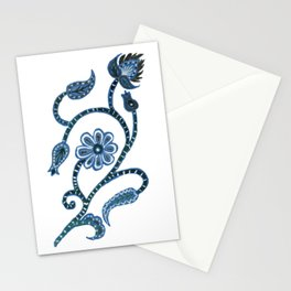 Blue Paisley Doodle-right facing Stationery Cards