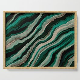 Deep Teal Agate Serving Tray
