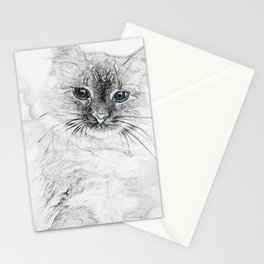 Siberian Kitty Cat Laying on the Marble Slab Stationery Cards