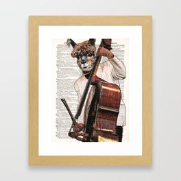 Lama wall art, Alpaca play Cello Print, Alpaca Art Print, Animal print, vintage dictionary page book Framed Art Print