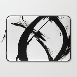 Brushstroke 7: a minimal, abstract, black and white piece Laptop Sleeve