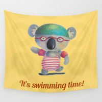 swimming Wall Tapestries featuring Swimming Time by Juliana Motzko