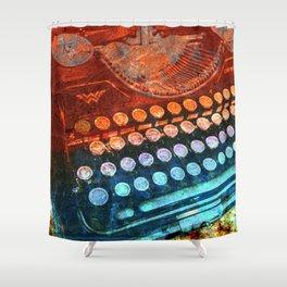 Typewriter Blue Red PopArt Shower Curtain