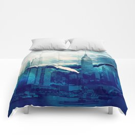 Blue Whale in NYC Comforters