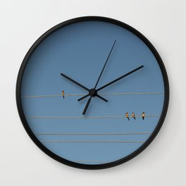 swalows on wire Wall Clock